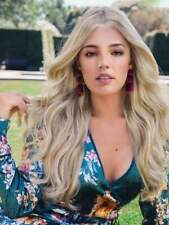 100% Human Hair Natural Long Wavy Light Blond  Fashion Women's Wig