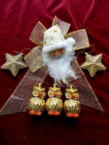 BEAUTIFUL HANGING SANTA CLAUS & GOLD CHRISTMAS TREE DECORATIONS~3 OWLS & 2 STARS