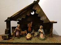VINTAGE ANTIQUE 7 PIECE MANGER NATIVITY 1950s MADE IN ITALY CHRISTMAS