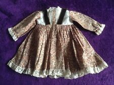 Doll's Dress, Brown Floral, 13 inches from shoulder to hem, NEW