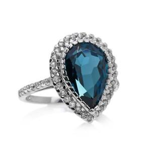 Colleen Lopez 5.57ct London Blue&White Topaz Pear Sterl Silvr Ring (sz6)