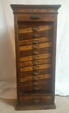 Vintage Hamilton Printers Cabinet Type Case Roll Down Front 13 Drawers