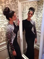 Crystal Beaded Long Sleeve Prom Dresses Black Party Formal Evening Gowns Custom
