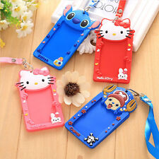 Silicone Cartoon ID Card Holder Card Case Badge Necklace Strap Lanyard Kids Gift