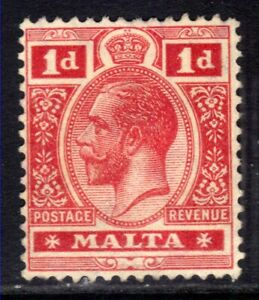 Malta 1914 - 21 KGV 1d Carmine Red MNG SG 73 ( G1223 )