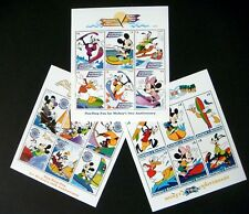 SALE!! ANTIGUA DISNEY MICKEY'S 70TH ANV STAMPS 1999 MNH WATER SPORTS FUN SURFING