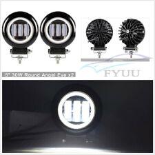 "2 Pcs Round 6D 5"" Autos LED Working Lights 60W Angel Eyes 6000K White Waterproof"