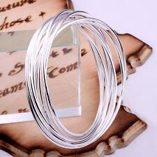 925Sterling Silver Jewelry Ten Circle Men Women Bracelet Bangle Dia:70MM BW084