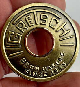 Gretsch 1960's Round Drum Badge For BASS DRUM. Comes With Brass Grommet.
