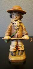 """Anri Hand Carved Wood Figure Ferrandiz 6 """" Boy W/ Cane & Bunny"""