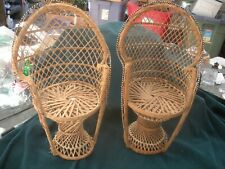 """Wicker doll chairs 16"""" peacock back natural ratan"""