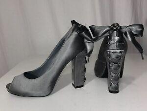 $295 Beverly Feldman Women's 6 M Satin Silver Gray Lace Up Platform Pumps Heels