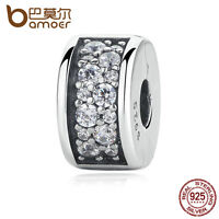 Bamoer Shinging Elegance Authentic S925 Sterling Silver Clip Charm with Clear CZ