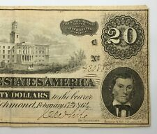 1864 Richmond 20$ Confederate Note Dollar Bill (P907)