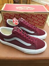 NEW MENS WOMENS VANS BURGUNDY & GREY LACE UP TRAINERS UK SIZE 6