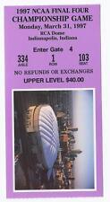 1997 NCAA Final Four Championship Game Ticket Stub Arizona Kentucky