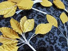 "144 Poly Silk Leaf 4"" Wire Stem Artificial Floral Craft/Christmas/trim H71-Gold"