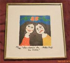 """Signed KIKI Suarez Etching, """"The Faces of Life""""  1991  Charming!!!"""