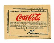 Vintage COCA-COLA Coupon early card for Contents of a Bottle