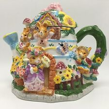 Mercuries Ceramic Tea Pot 1999 Springtime Flowers Garden Bunnies Bunny House