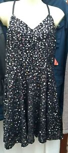 size small,8-10,Silver sequins,sleeveless, strappy,fit and flare dress Superdry