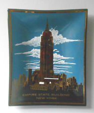 Empire State Building tray plate-New York City Souvenir-Black Glass-pin/coins