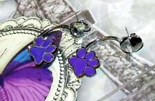 Stud Earrings - 5/8 Inch Adorable Purple Paw And Silver Heart