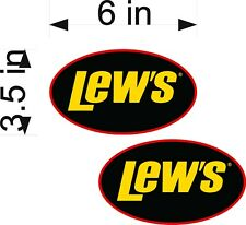 "Lews Fishing Logo / PAIR / 6"" Lew's Vinyl Adhesive Decals PAIR"