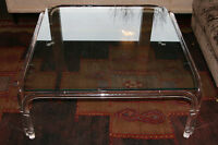 Vtg Mid Century Modern Lucite and Glass Dorothy Thorpe Style Square Coffee Table