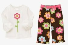 Gymboree Growing Flowers Outfit 3T Ivory Top Shirt Brown Floral Pants New Girls
