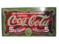 Coca-Cola Tin Metal Tacker Sign Green Coca-Cola 5 Cents