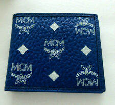 NWT MCM  Flap Men's Bifold Wallet  blue NEW WITH BOX MXSASV01H1001