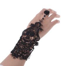 Black Bridal Flower Gothic Lace Vampire Vintage Women Handmade Bracelet Ring Set