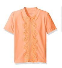 NEW! Girls SEAFOLLY Zip Rashie Short Sleeve Rash Guard, Size 3T, Rockmelon