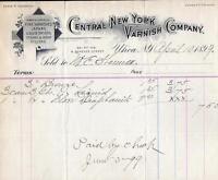 1899 UTICA*CENTRAL NEW YORK VARNISH COMPANY*STAIN*WOOD FILLER*JAPANS*E COMSTOCK