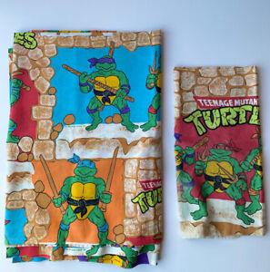 Vintage 1988 Teenage Mutant Ninja Turtles Flat Twin Sheet & Pillowcase