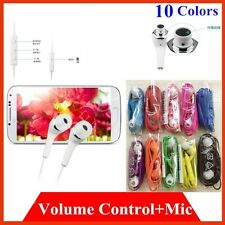 lot 10 FLAT headset earpiece Stereo MIC AND REMOTE FOR SAMSUNG S5 NOTE 4 COLORS
