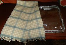 New Vintage St Marys Tan Blue Wool Fringe Plaid Picnic Throw Blanket +Carry Case