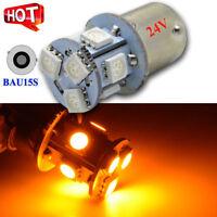 4PCS BAU15S PY21W 5050 8 SMD LED Truck Trailer Turn Signal Light Bulb 24V Amber