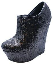 Black Sequin Wedge Shoe Boots