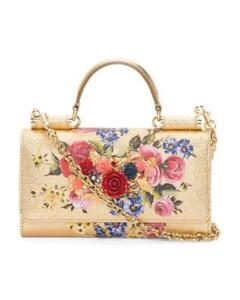DOLCE & GABBANA Made In Italy Leather Phone Bag Clutch Gold Embellished New