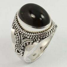 925 Sterling Silver Ethnic Ring Size US 6.25 Real SMOKY QUARTZ Gemstone Exporter