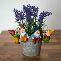 Set 4 Gnome Pot Sitters Statue Colourful Gnomes Figurine Ornament Planter Sitter