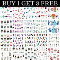 LEMOOC Nail Art Water Decals Flower Feather Leaf Sticker Tips Buy 1 Get 8 Free