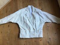 Bomberjacke Blouson Lederjacke weiß 80er vintage Miami Vice  kult oversize 40 42