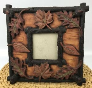 Rustic Fall Leaf Picture Frame Wood Look Lodge Nature Embossed Chiseled Photo