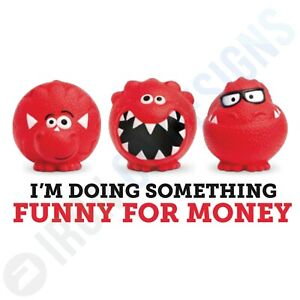 COMIC RELIEF - FUNNY MONEY RED NOSE DAY - IRON ON TSHIRT TRANSFERS - A6 A5 A4