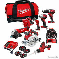 MILWAUKEE 18V M18BPP6A-303B+M18BBL+M18AF 8 PC BRUSHED KIT WITH 4 X 3.0AH BAT AUS