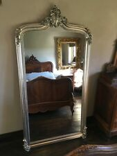 Antique Silver Ornate French Arch Scroll Dress Floor Leaner Wall Mirror 7ft