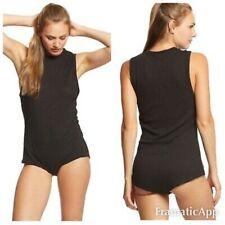 NWT Women's Free People All The Time Tank Bodysuit Black Sleeveless Tank Top